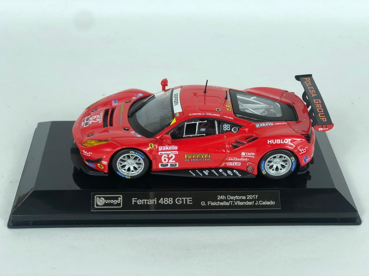 Miniatura Ferrari 488 GTE 2017 Racing 1/43 Bburago