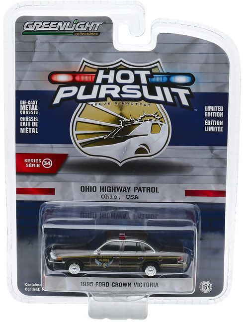 Miniatura Ford Crown Victoria 1995 Polícia Hot Pursuit 1/64 Greenlight