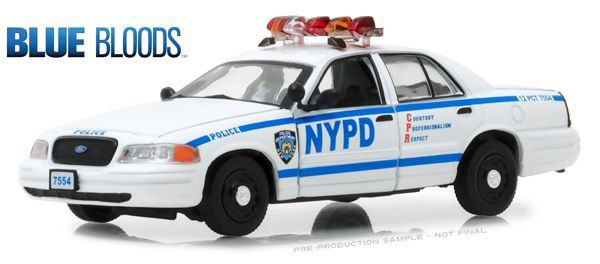 Miniatura Ford Crown Victoria Policia Interceptor 2001 Blue Bloods 1/43 Greenlight Hollywood