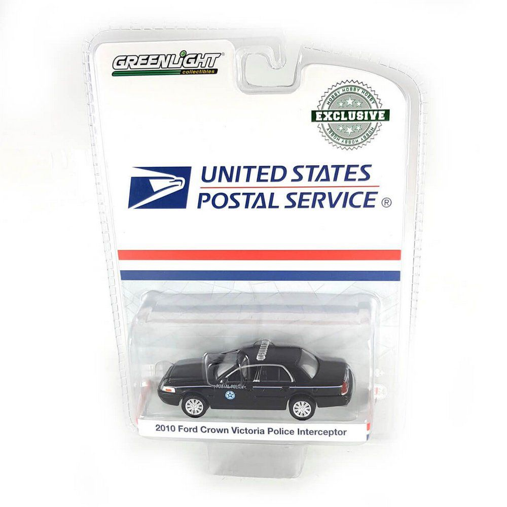Miniatura Ford Crown Victoria Policia Interceptor 2010 USPS US Postal Service 1/64 Greenlight Greenmachine