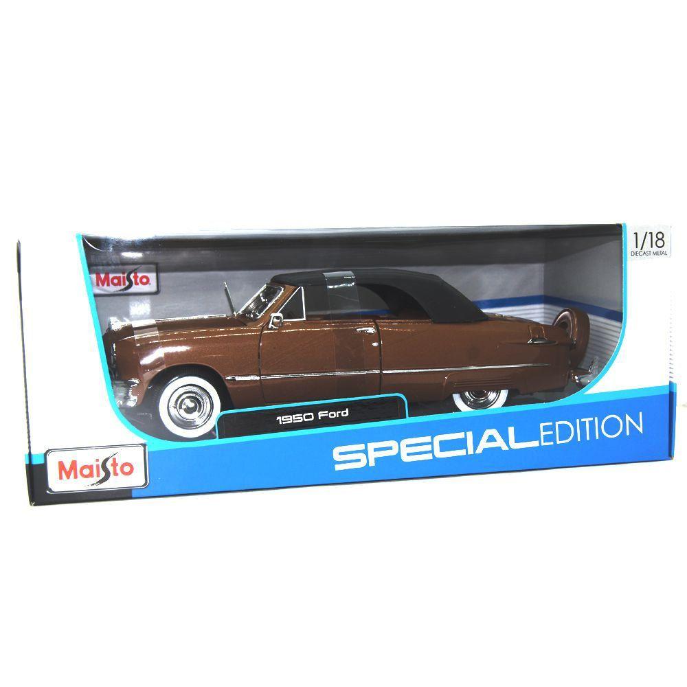 Miniatura Ford Custom Fechado 1950 Marrom 1/18 Maisto Special Edition