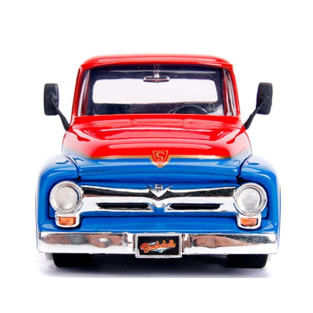 Miniatura Ford F-100 1956 Super Girl com Boneco 1/24 Jada Toys