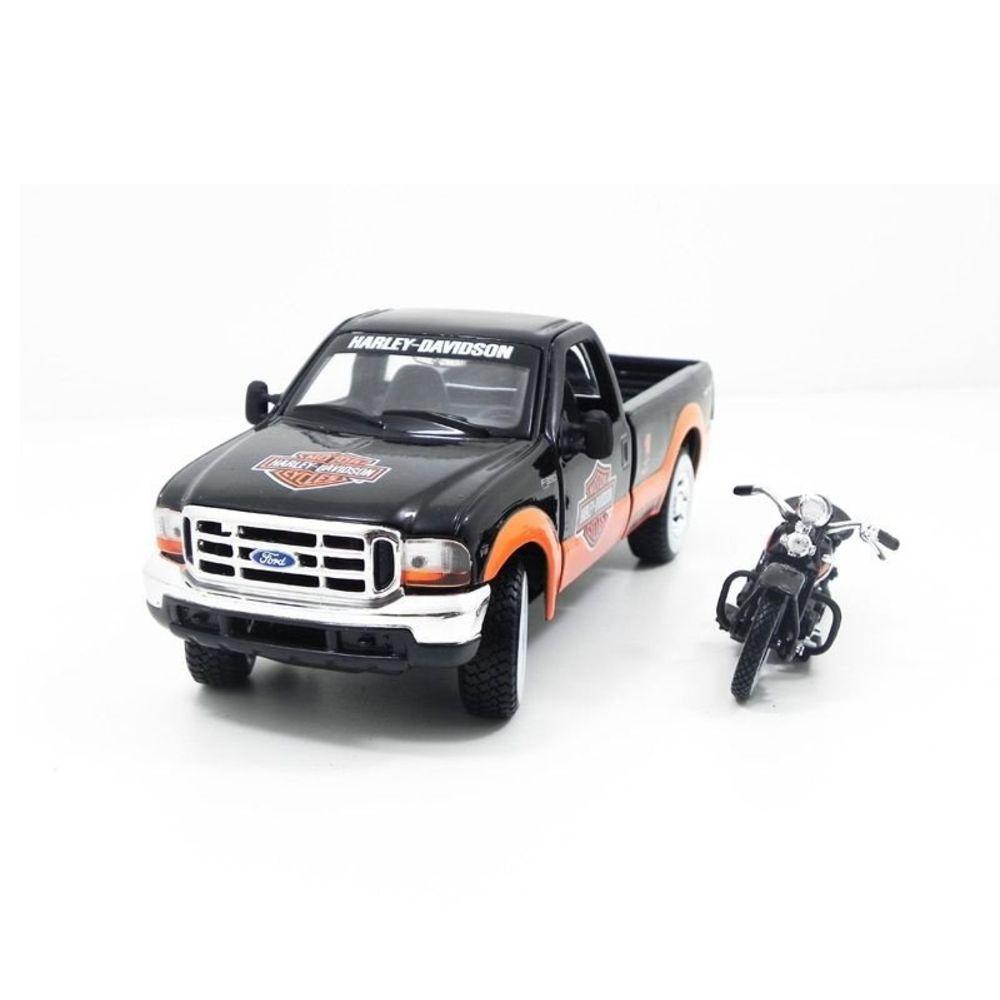 Miniatura Ford F-350 1999 + Moto Harley El Knucklehead 1/24 Maisto