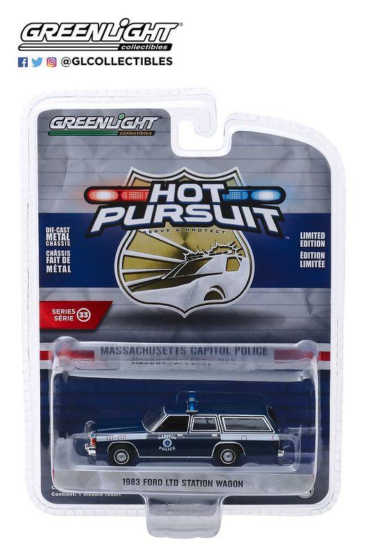 Miniatura Ford FTD Station Wagon 1983 Polícia Hot Pursuit 1/64 Greenlight