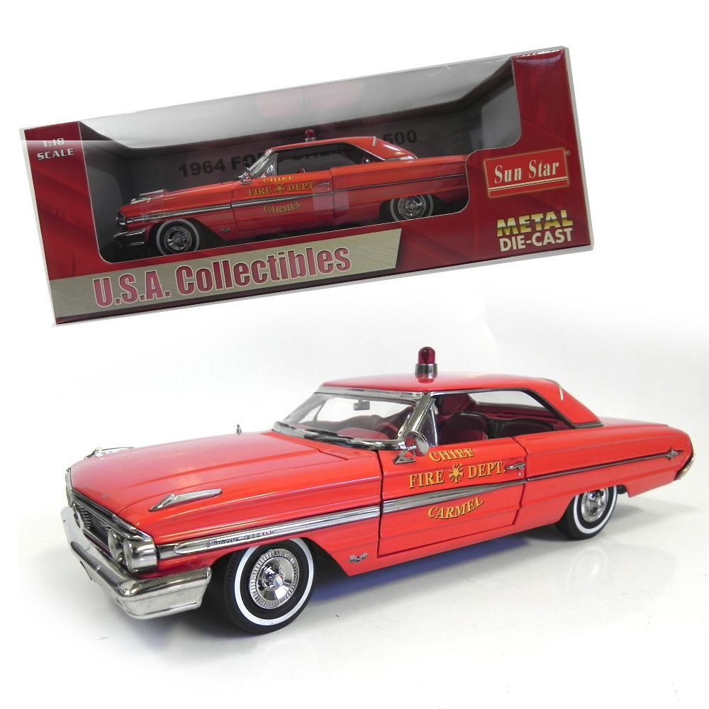 Miniatura Ford Galaxie 500 Carmel Fire Dept. 1964 1/18 Sun Star