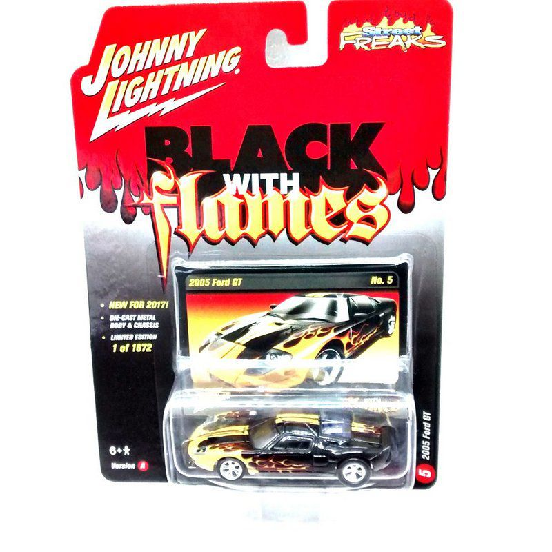 Miniatura Ford GT 2005 Black With Flames A 1/64 Johnny Lightning