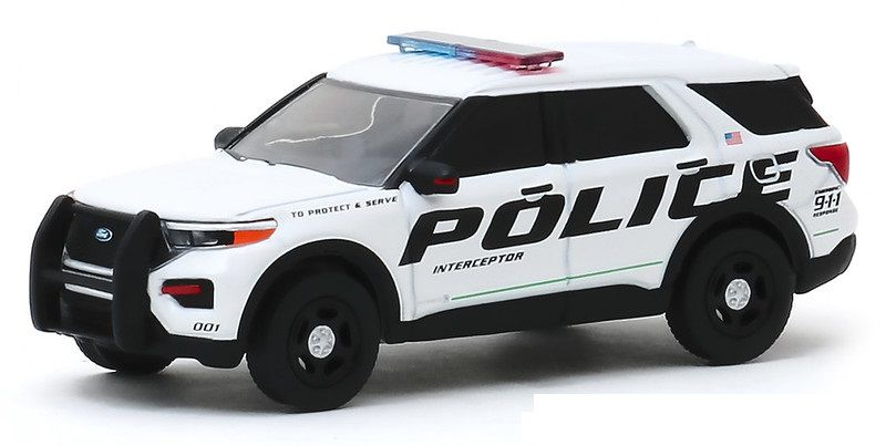 Miniatura Ford Interceptor 2020 Polícia Hot Pursuit 1/64 Greenlight