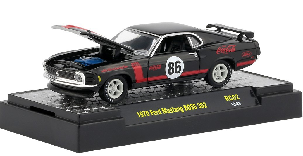Miniatura Ford Mustang BOSS 302 1970 Coca Cola Race Car 1/64 M2