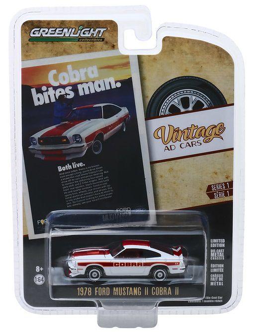 Miniatura Ford Mustang Cobra 1978 Vintage AD Cars 1/64 Greenlight