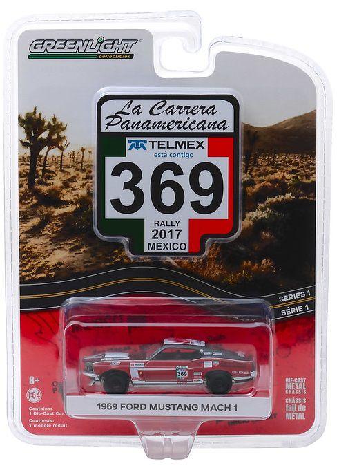 Miniatura Ford Mustang Mach 1 1969 #369 La Carrera Panamericana 2017 1/64 Greenlight