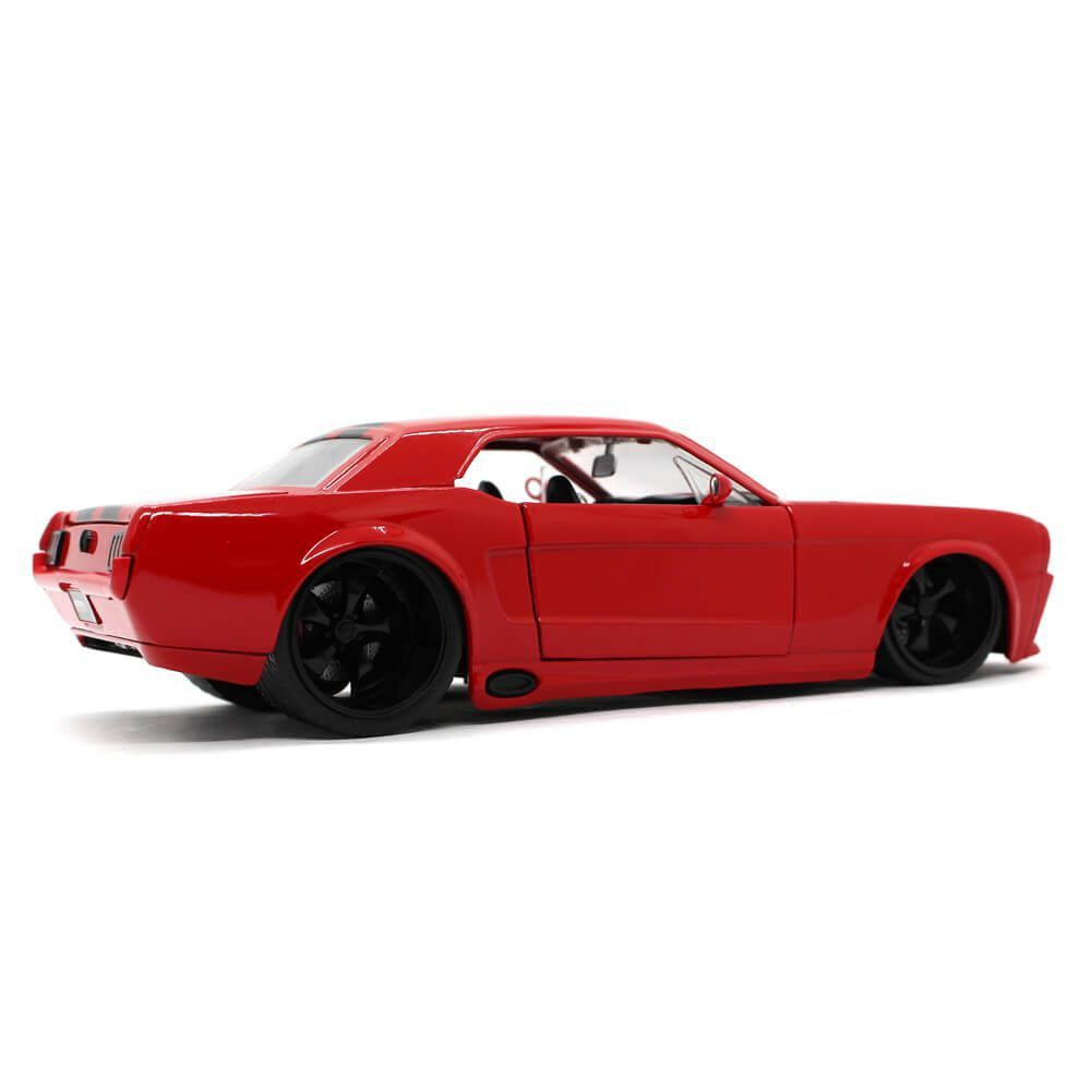 Miniatura Ford Mustang USA Coupe Custom 1965 Vermelho 1/24 Jada Toys Big Time Muscle