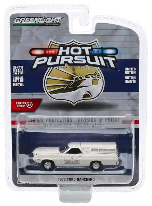 Miniatura Ford Ranchero 1972 Polícia Hot Pursuit 1/64 Greenlight
