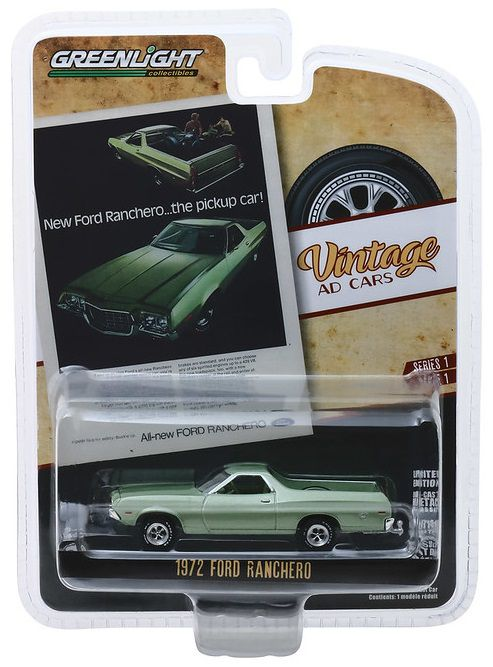 Miniatura Ford Ranchero 1972 Vintage AD Cars 1/64 Greenlight