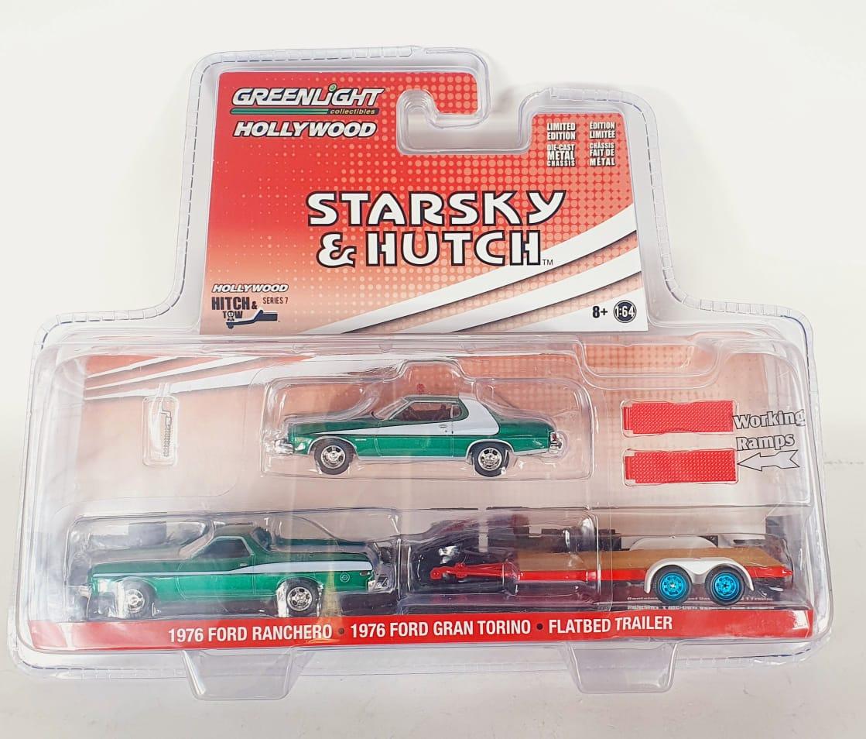 Miniatura Ford Ranchero 1976 com Gran Torino Starsky & Hutch 1/64 Greenlight Green Machine