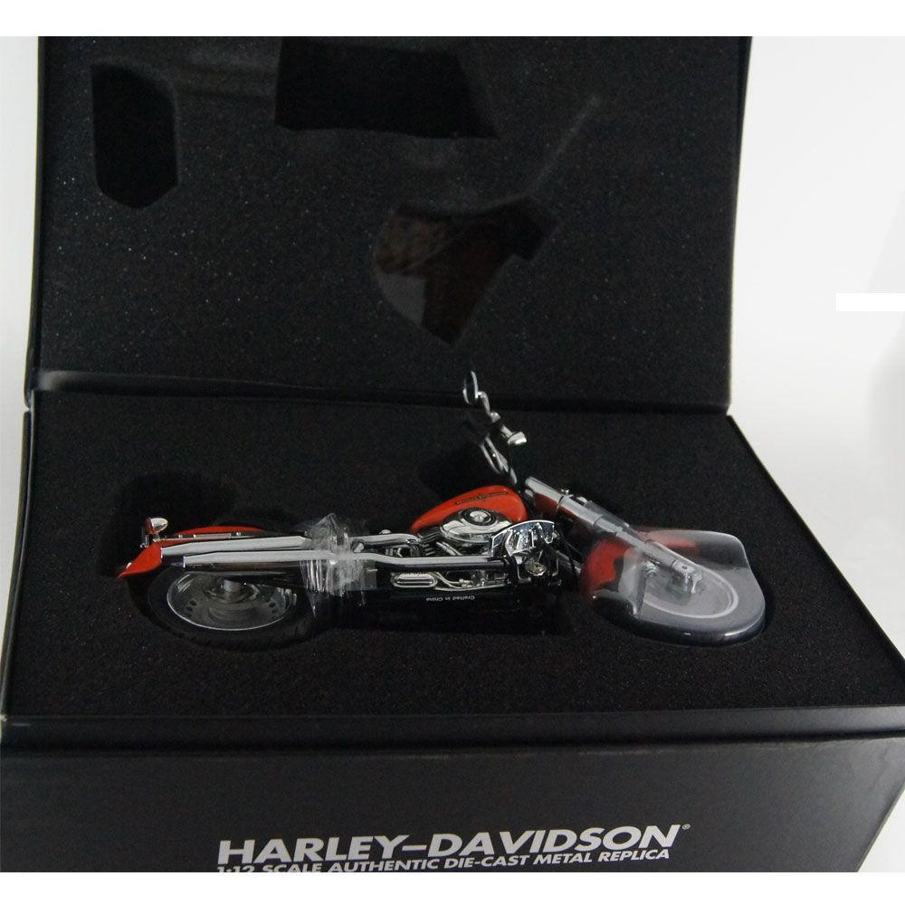 Miniatura Harley Davidson: FLSTF Fat Boy (2012) - Laranja - 1/12 Highway61