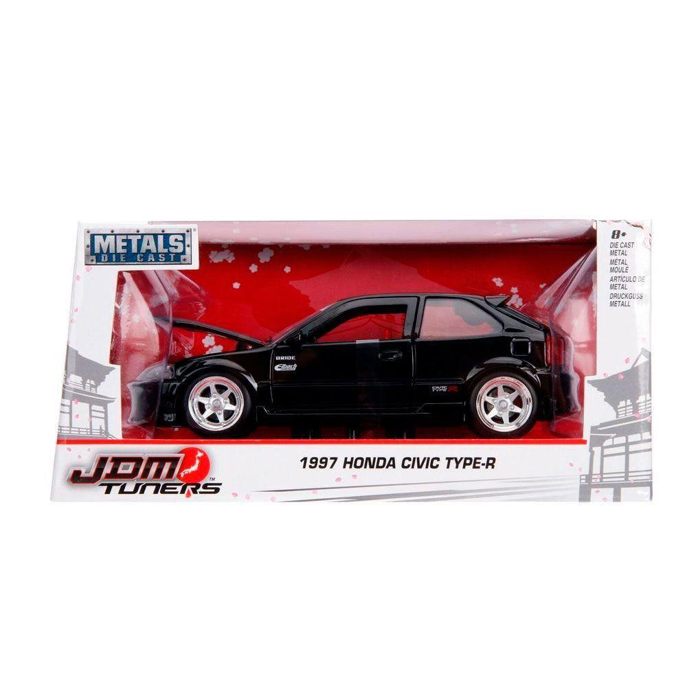 Miniatura Honda Civic 1997 EK Type R JDM Preto 1/24 Jada Toys