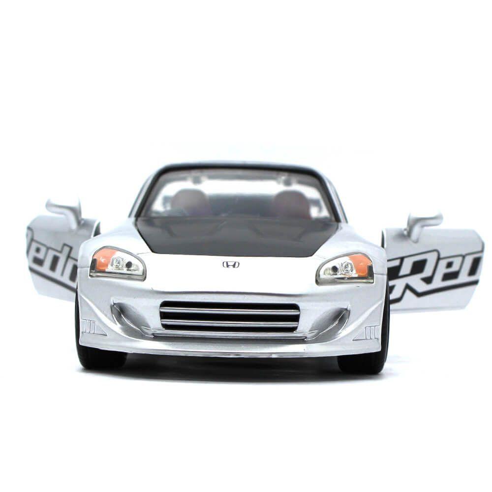 Miniatura Honda S2000 Spider Greddy 2001 Prata 1/24 Jada Toys JDM Tuners