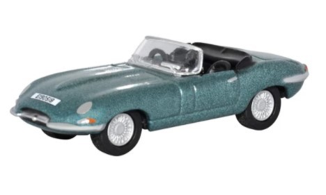 Miniatura Jaguar E Type Silver Blue 1/76 Oxford