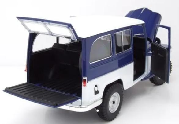 Miniatura Jeep Willys 1955 Rural Station Wagon Azul 1/18 Lycky Diecast