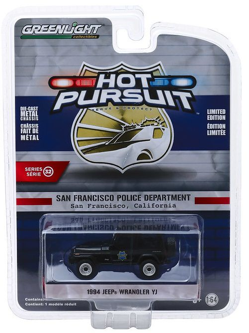 Miniatura Jeep Wrangler 1994 Polícia Hot Pursuit 1/64 Greenlight