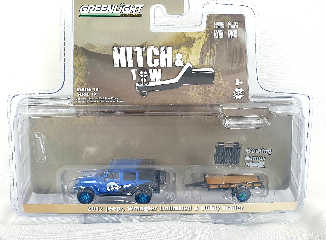 Miniatura Jeep Wrangler 2012 Utility Trailer Mopar Greenmachine 1/64 Greenlight