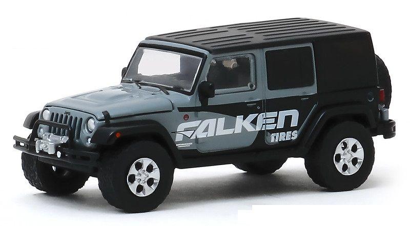 Miniatura Jeep Wrangler 2014 Falken Tires Running on Empty 1/64 Greenlight