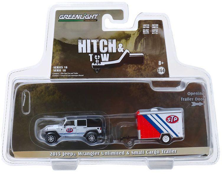 Miniatura Jeep Wrangler 2015 Com Trailer Utilitário 1/64 Greenlight