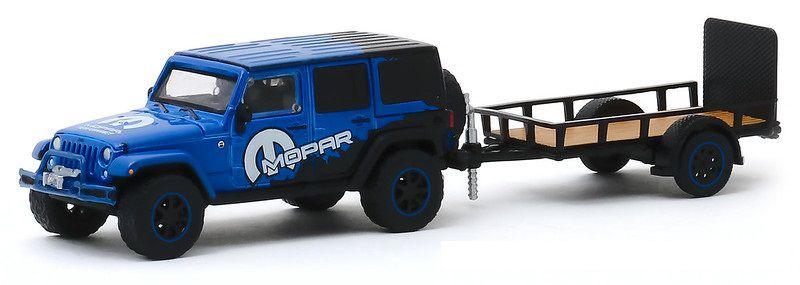 Miniatura Jeep Wrangler MOPAR com Trailer Utilitário Tow & Hutch 1/64 Greenlight