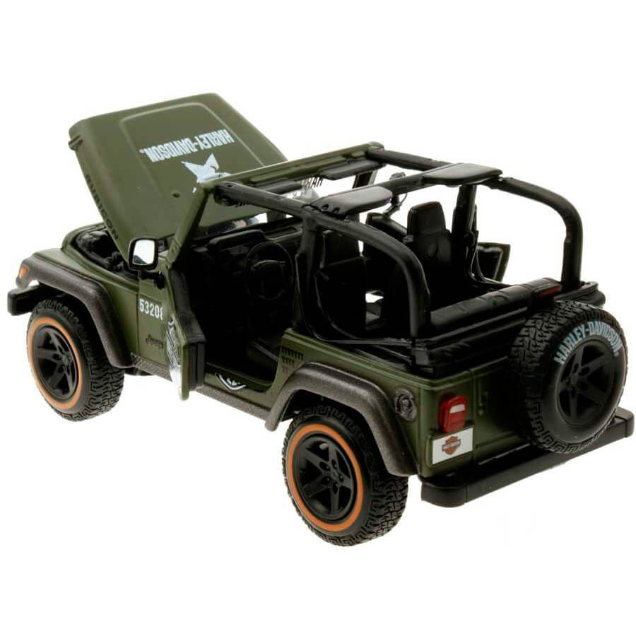 Miniatura Jeep Wrangler Rubicon 2012 Militar Harley Davidson 1/27 Maisto HD Custom