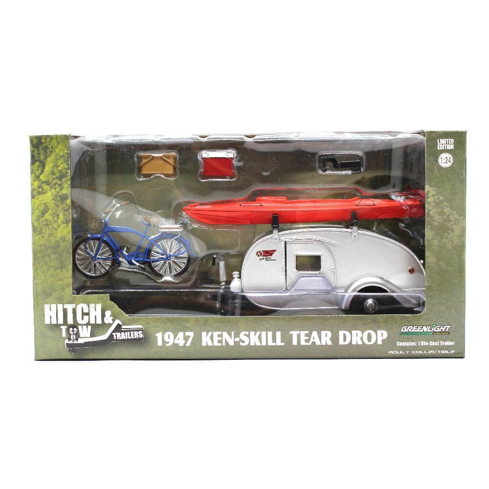 Miniatura Ken Skill Tear Drop 1947 Hitch & Tow Trailers 1/24 Greenlight