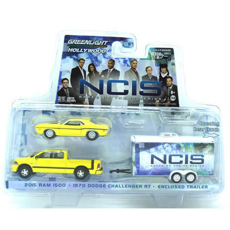 Miniatura Kit NCIS Hollywood 2015 Dodge Ram 1970 Dodge Challenger RT  Enclosed Trailer 1/64 Greenlight
