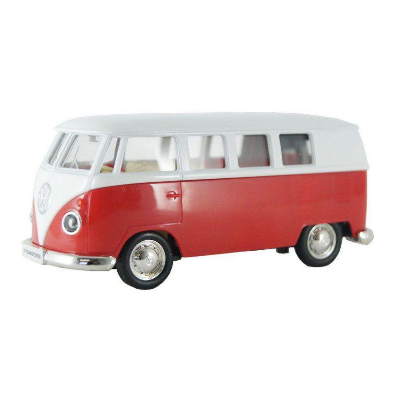 Miniatura Kombi Volkswagen T1 Transporter Vermelha Luz e Som 1/32 Hot Wheels