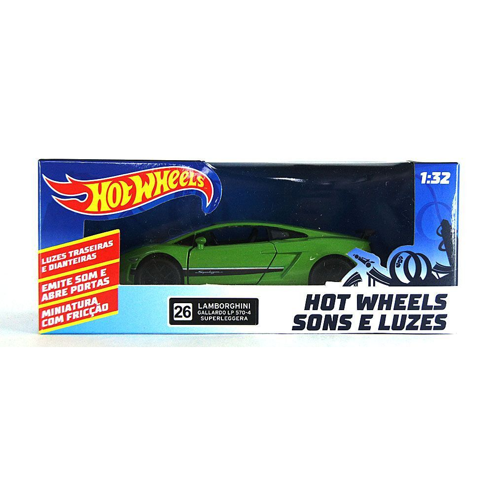 Miniatura Lamborghini Gallardo LP 570-4 Superleggera Verde Luz e Som 1/32 Hot Wheels