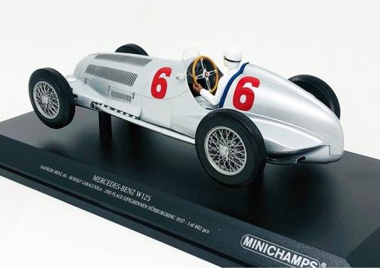 Miniatura Mercedes Benz W125 #6 Rudolf Caracciola 2nd Place Eifelrennen Nürburgring 1937 1/18 Minichamps