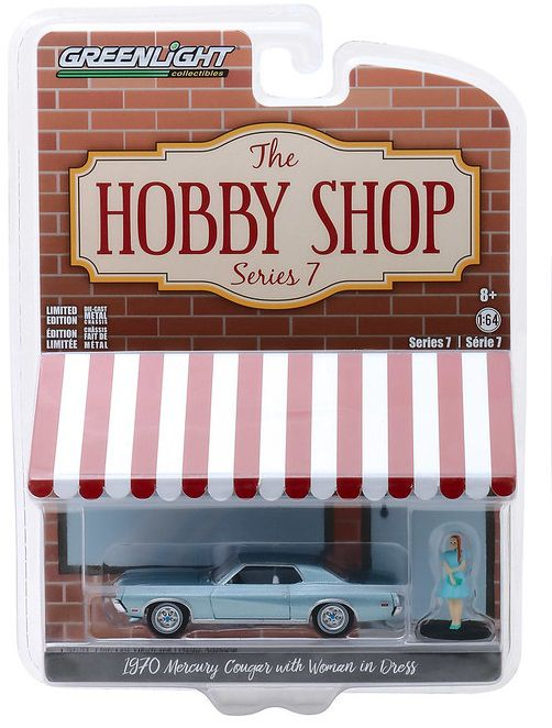 Miniatura Mercury Cougar 1970 com boneco Hobby Shop 1/64 Greenlight