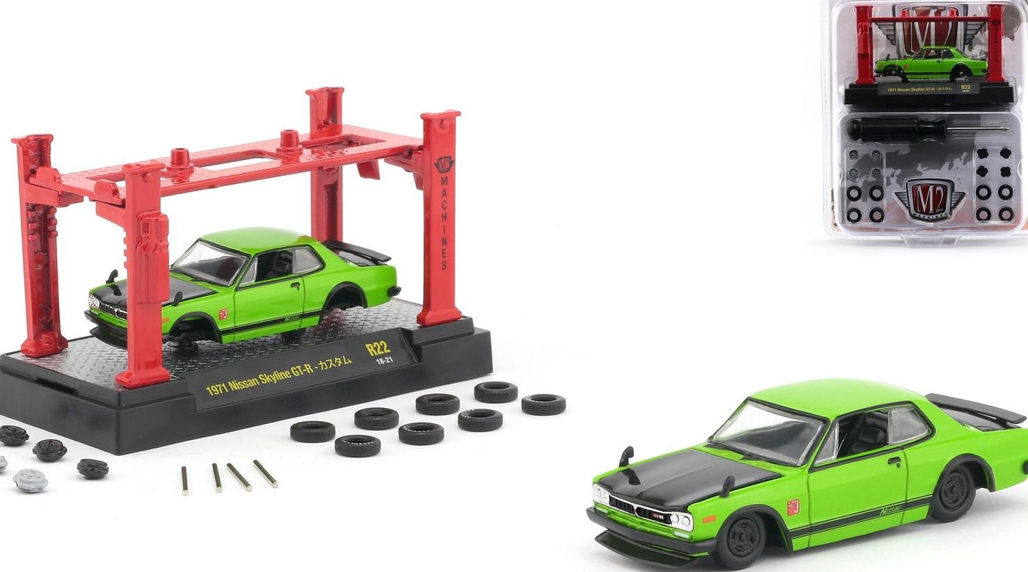 Miniatura Nissan Skyline GT-R 1971 Elevador Troca Rodas 1/64 M2