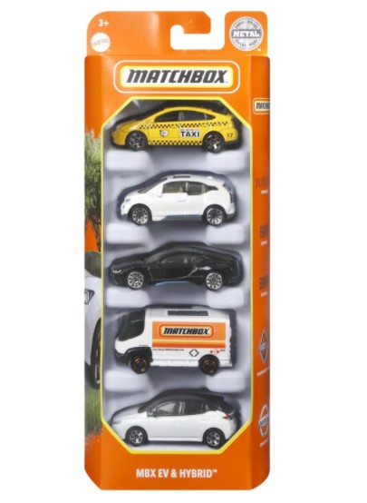 Miniatura Pack 5 Matchbox MBX EV & Hybrid HCJ00 1/64 Matchbox