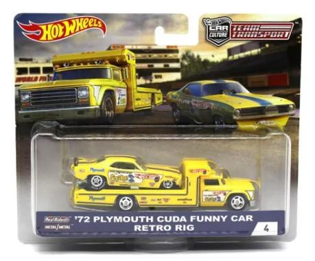 Miniatura Plymouth Cuda Funny Car 1972 Retro Rig 1/64 Hot Wheels Team Transport