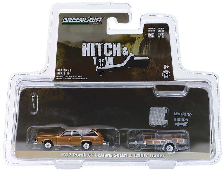 Miniatura Pontiac LeMans Safari 1977 Com Trailer Utilitário 1/64 Greenlight