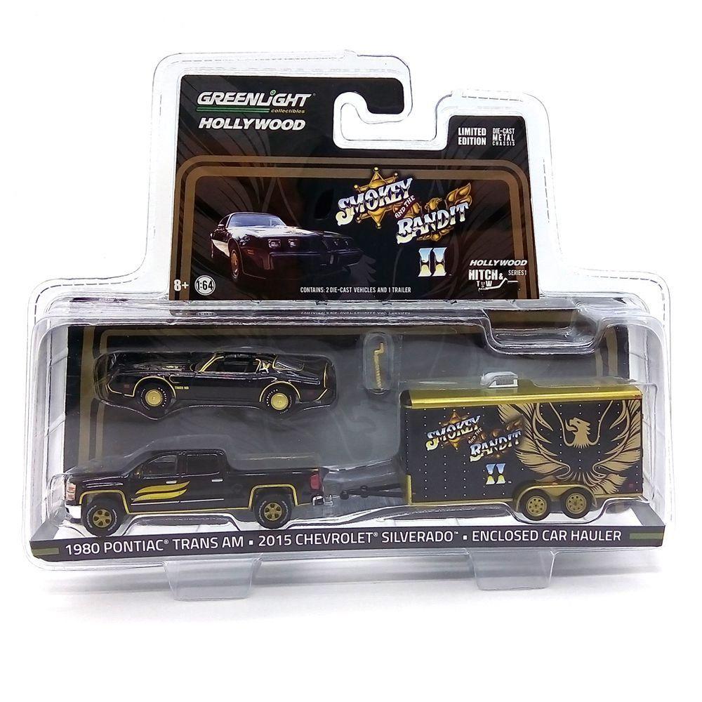 Miniatura Pontiac Trans AM e Chevrolet Silverado Smokey and the Bandit II 1/64 Greenlight