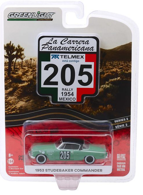 Miniatura Studebaker Commander 1953 #205 La Carrera Panamericana 1954 1/64 Greenlight