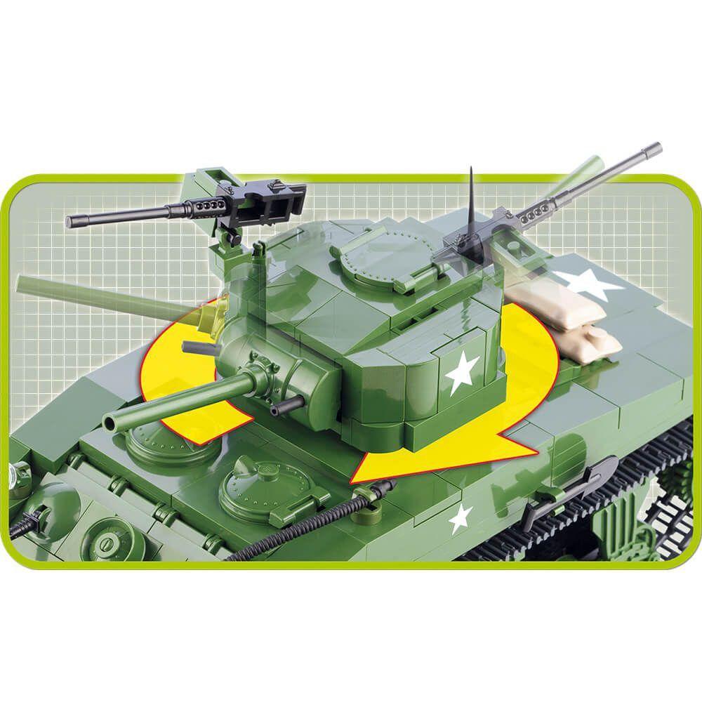 Miniatura Tanque de Guerra Sherman M4A1 Blocos de Montar 420 Peças Cobi