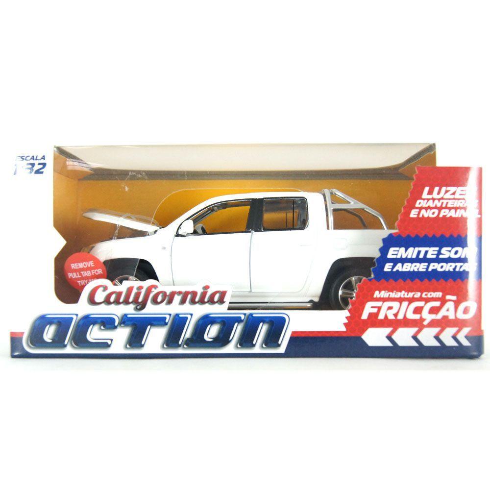 Miniatura Volkswagen Amarok Luz Som Fricção 1/32 Califórnia Action