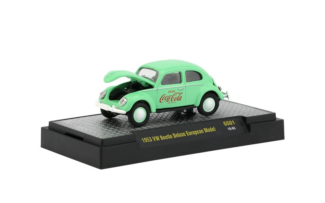 Miniatura Volkswagen Fusca 1953 Deluxe Coca Cola Georgia Green 1/64 M2