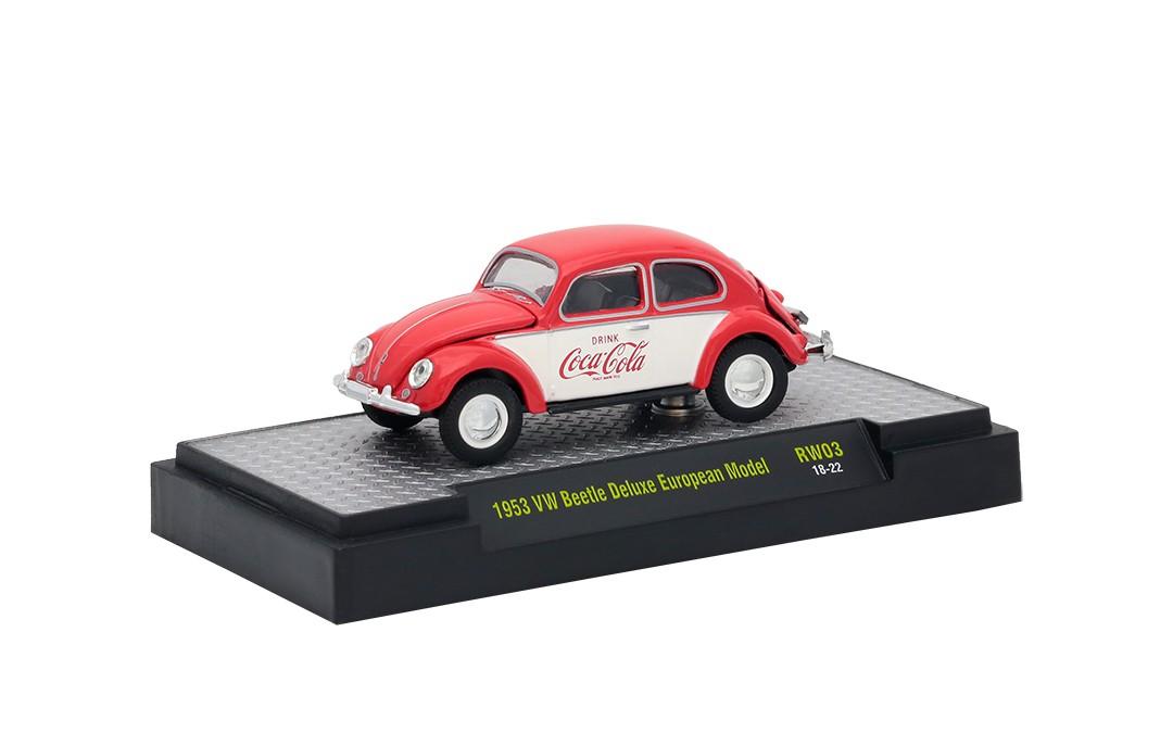 Miniatura Volkswagen Fusca 1953 Deluxe Coca Cola Vermelho 1/64 M2