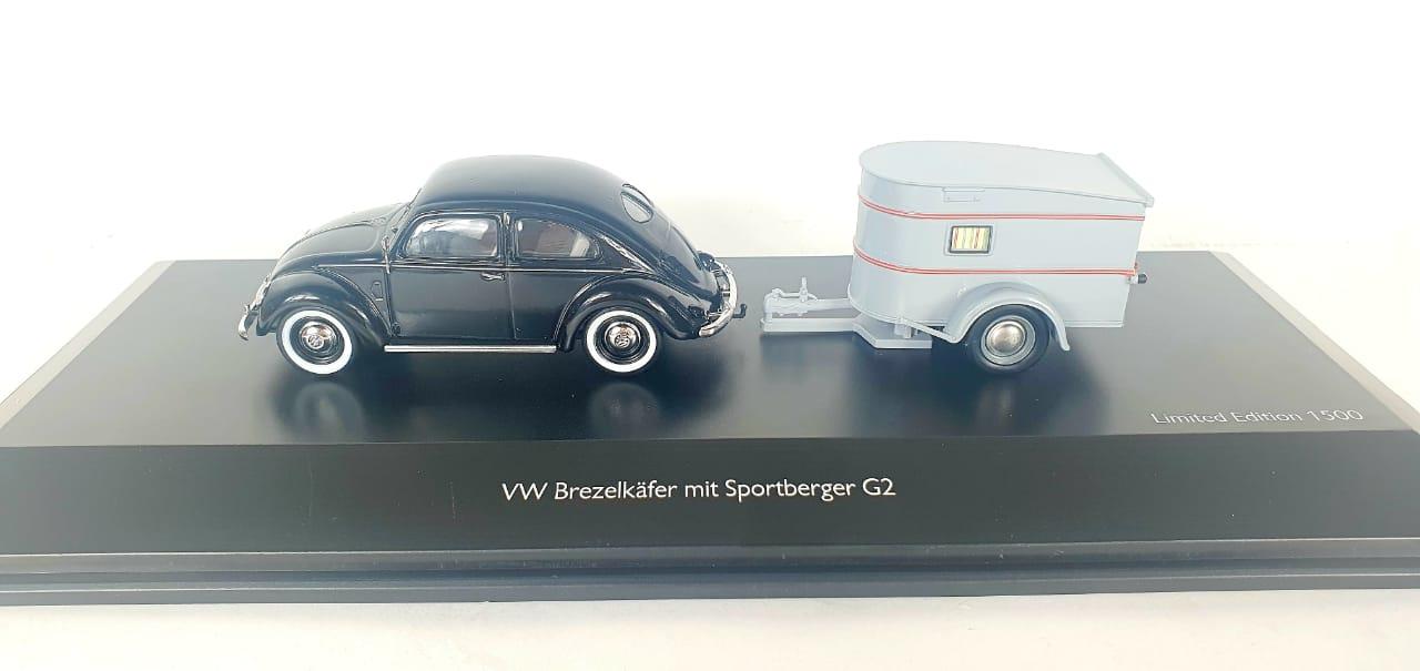 Miniatura Volkswagen Fusca Com Trailer 1/43 Schuco