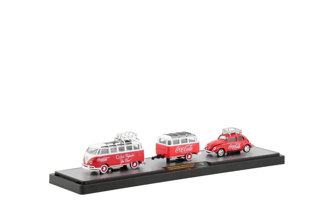 Miniatura Volkswagen Kombi 1959 com Trailer e Fusca 1953 Coca Cola 1/64 M2