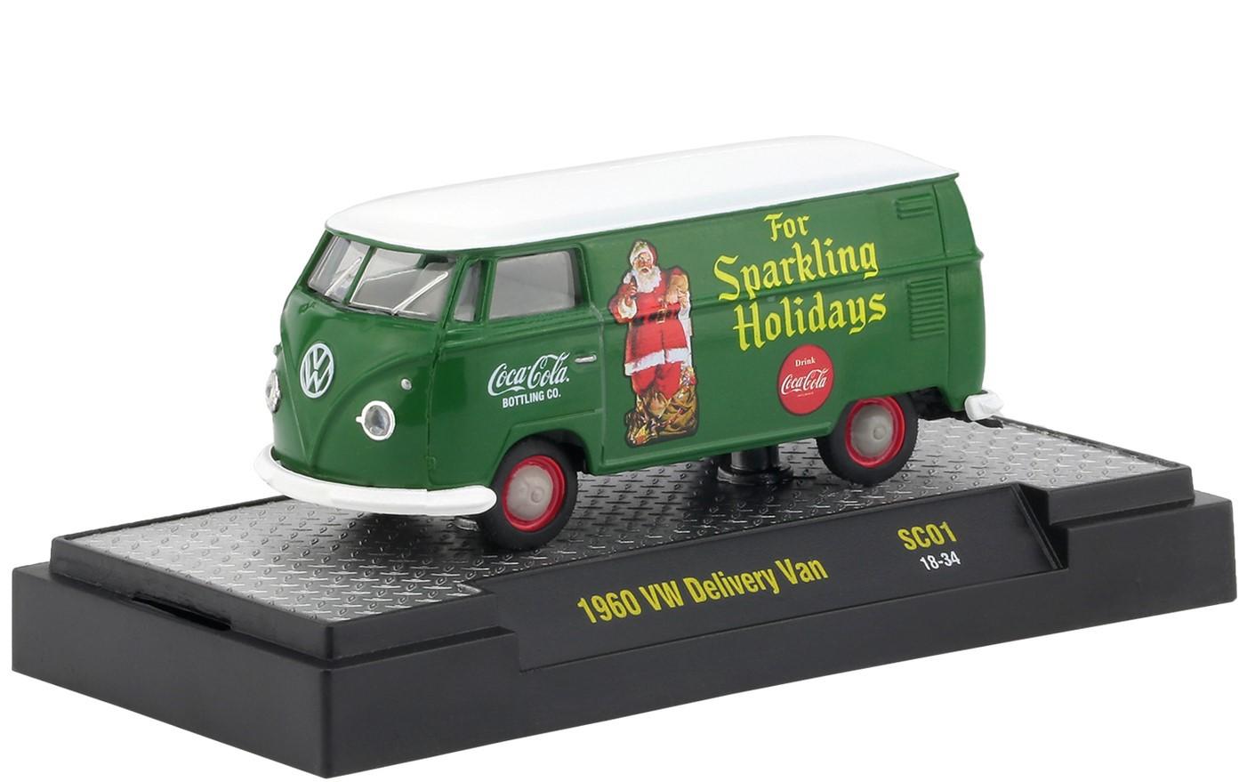 Miniatura Volkswagen Kombi 1960 Verde e Branca Coca Cola Santa Claus 1/64 M2
