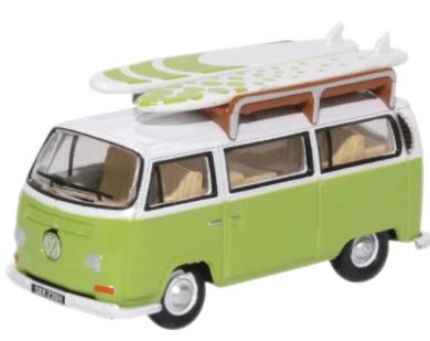 Miniatura Volkswagen Kombi Bus Surf Green/White 1/76 Oxford
