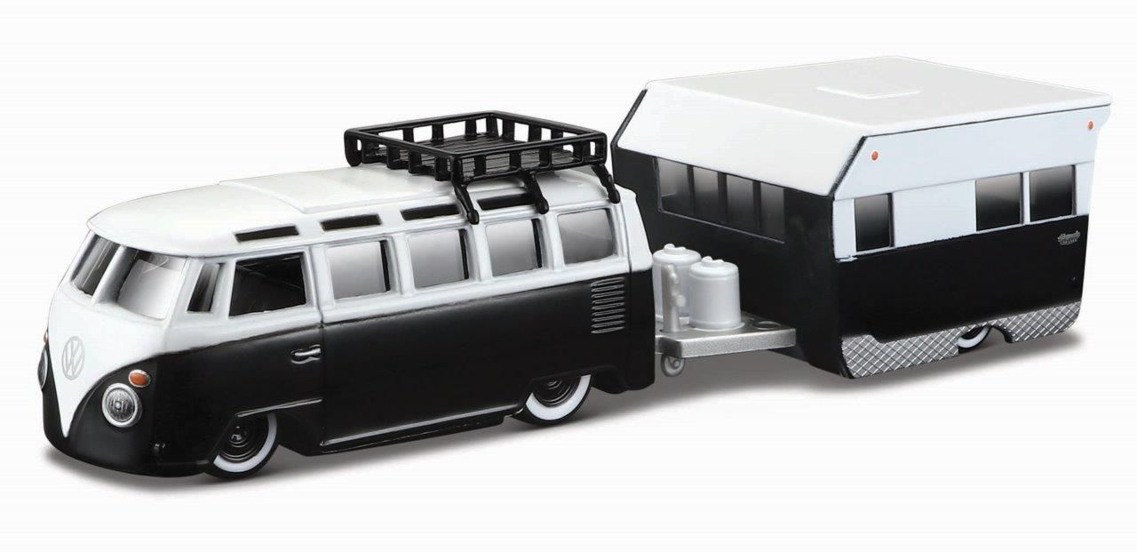 Miniatura Volkswagen Kombi Trailer Design Elite Transport 1/64 Maisto